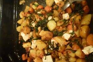 Roasties with spinach, feta and sundried tomato dip