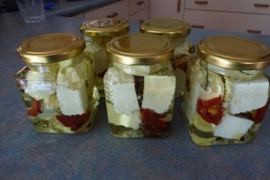 Feta marinated with sundried tomato, dried rosemary and peppercorns