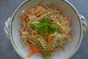 Carrot, Cucumber and Kelp Noodle Salad with Peanut Miso Dressing