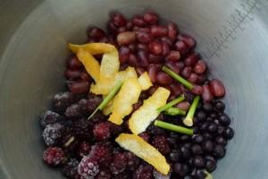 Combine fruit in pan