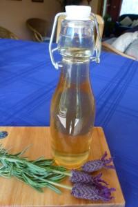 Lavender syrup in decorative bottle
