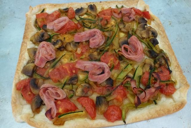 Sauted onion, courgette, mushroom, tomato and ham