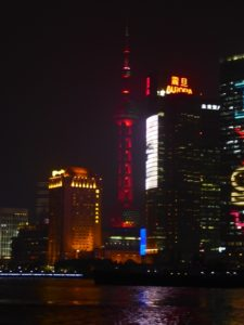 Many colours of the Oriental Pearl Tower