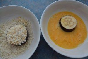 Egg mixture and panko breadcrumbs