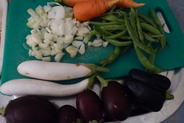 Eggplant and whatever other vegetables you have in the garden