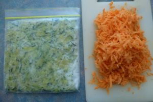 grated kumara and zucchini