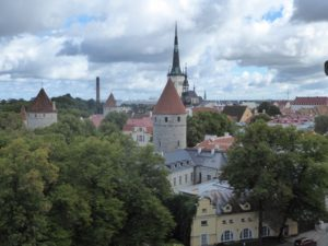 View of Tallinn Old Town from Toompea Hill (note cruise ships in distance)