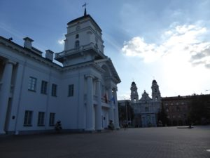 Minsk Town Hall and Cathedral of Saint Virgin Mary
