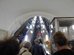 Towering escalators, Moscow metro