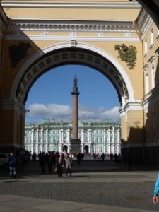 The Winter Palace and Alexander Column through the Triumphal Arch