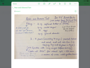 Capture a handwritten recipe