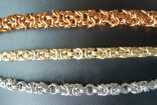 Turkish Round, Byzantine and Byzantine variant chain maille designs