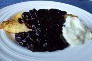 Blueberry sauce on pancakes