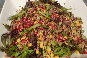 Rice, quinoa, sweetcorn, broad bean and pomegranate salad