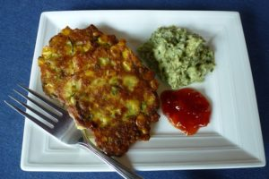 Corn Fritters with Avocado Pesto