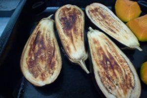 Bake eggplant until tender