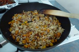 Add cooked rice & other ingredients