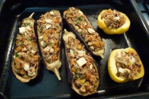 Spoon into eggplant shells and bake