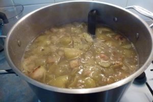 Boil apples and water