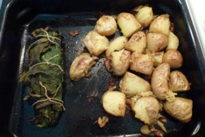 Roast parcel in oven