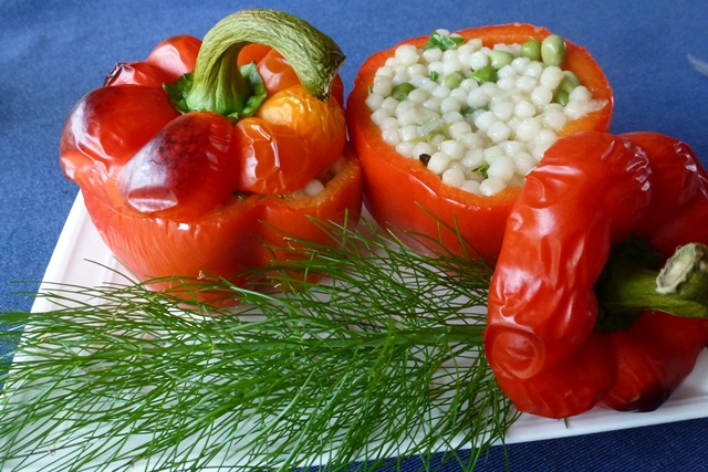 Use left overs to stuff capsicums