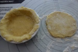 Roll out circles, press into pie dish