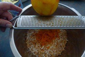 Add coconut & grate in rind