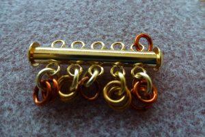 First row Ruffles Cuff: 2, 2, 1, 2, 2 rings