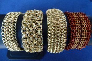 European 4-in-1 bracelet, Helms Cuff bracelet, Dragonscale bracelet and Ruffles Cuff bracelet