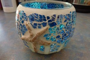 My coastal themed mosaic candle container