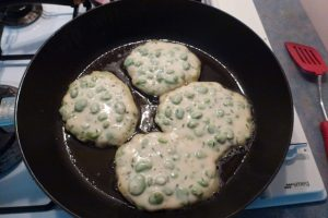 Add spoonfuls of batter to pan