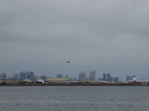 Helicopter above Naval Air Station