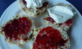 Rhubarb & Strawberry Jam with scones and cream