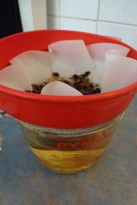 Put strained gin into a container
