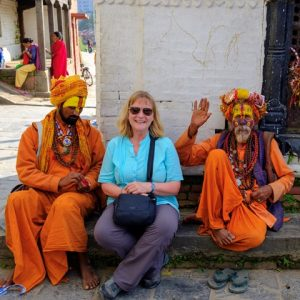 With the friendly Sadhus (Holy Men)