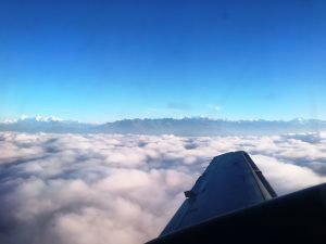 First view as we come out of the clouds