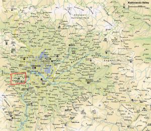 Map showing Kirtipur