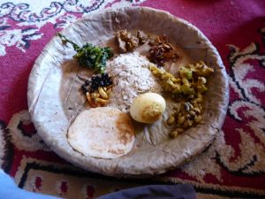Traditional meal served on leaf plates