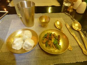 Traditional Nepali food and rice whisky