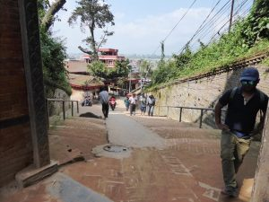 A steep climb to the old walled city of Bhaktapur