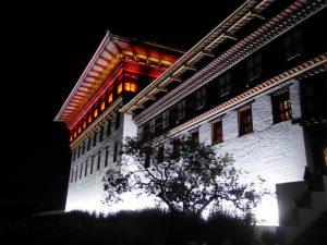 Thimphu Dzong lit up at night