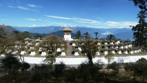 108 Chortens with Himalayas behind