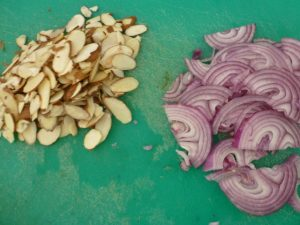 Thinly sliced onions and sliced almonds
