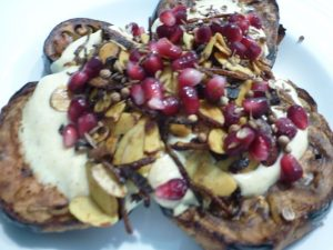 Roasted eggplant with curried yoghurt