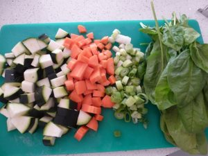 Chop vegetables into small chunks