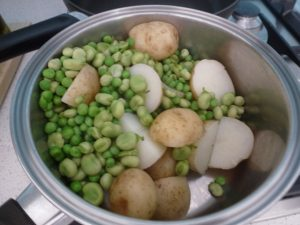 Boil potatoes, peas and beans