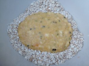 Put banana mix into bowl with dry ingredients