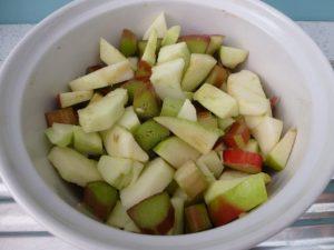 Chop rhubarb & apple into dish