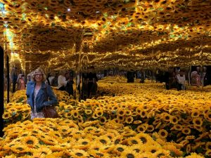 Deb in the sunflower room