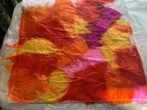 Red and orange tissue paper
